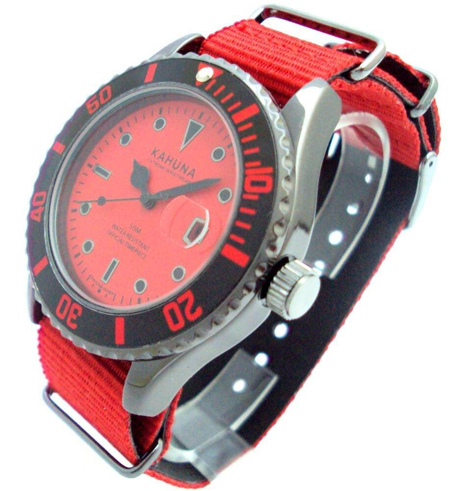 kahuna mens red nylon strap watch date display kus0114g