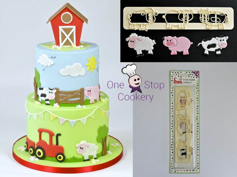 FMM Sugarcraft Cute FARM ANIMAL Tappit Cutter Set Cake ...