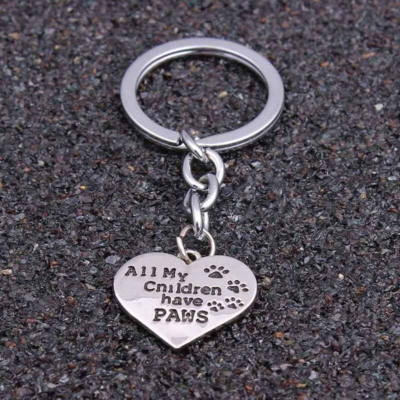 Silver Keychain Gift All My Children Have Paws Paw Print