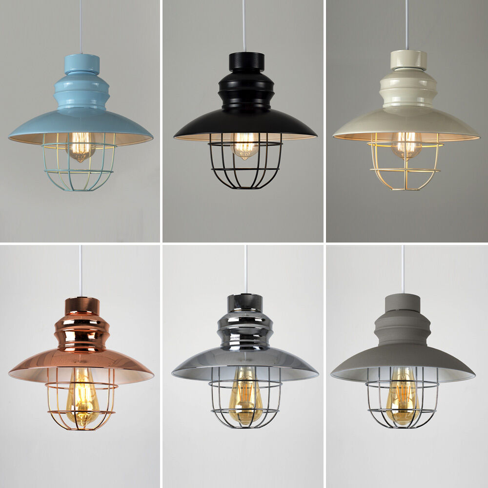 Lamp Shades For Ceiling Lights: Vintage Industrial Style Metal Fishermans Cage Ceiling