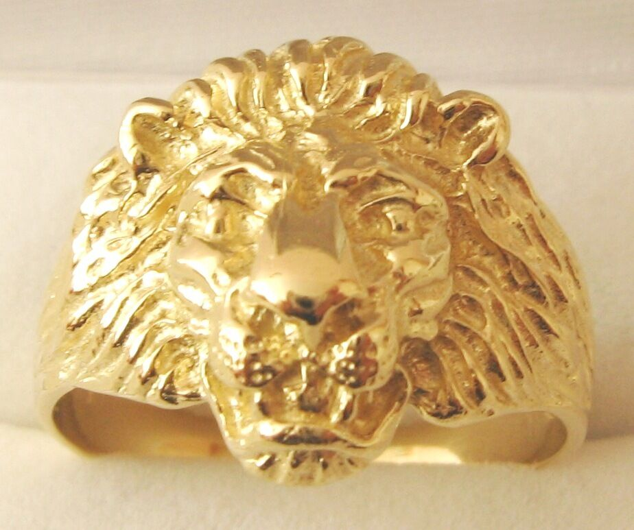 genuine 9k 9ct solid gold men 39 s lion ring size t 10 to w 11 5 ebay. Black Bedroom Furniture Sets. Home Design Ideas