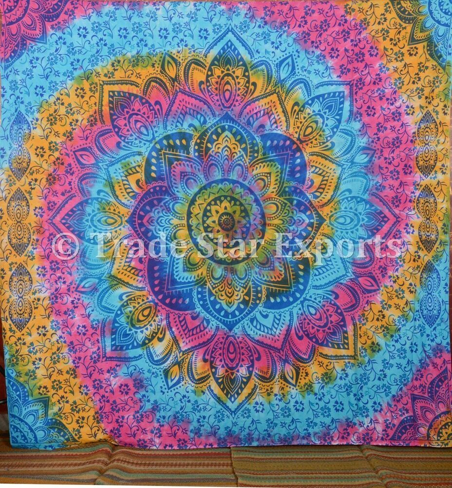 Peace Sign Bedroom Accessories: Large Indian Tie Dye Tapestry Hippie Wall Hanging Peace