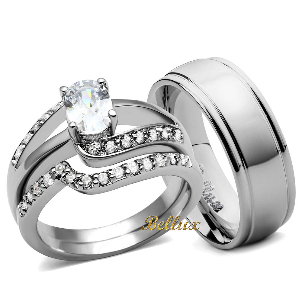 His And Hers Wedding Ring Sets Womens Oval CZ Rings Set Amp Mens Matching Band