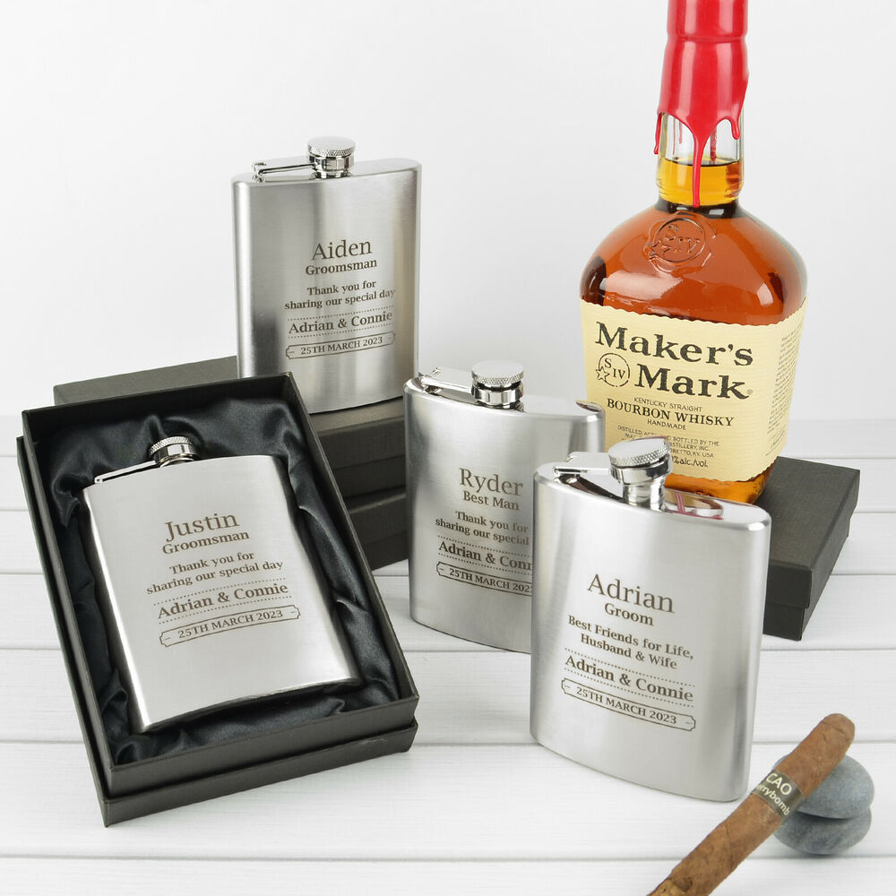 Wedding Gift Box Ebay : ... Flask Silver Wedding Groomsman Best Man Bridal Party Gift Box eBay