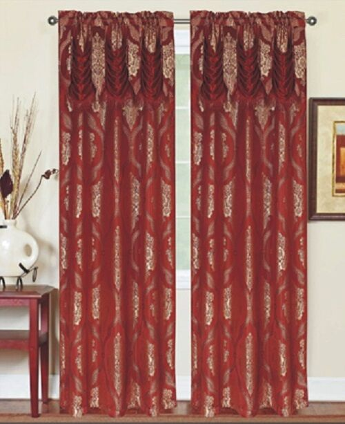 Single 1 Window Curtain Panel Attached Valance Rod Pocket Burgundy With Gold Ebay