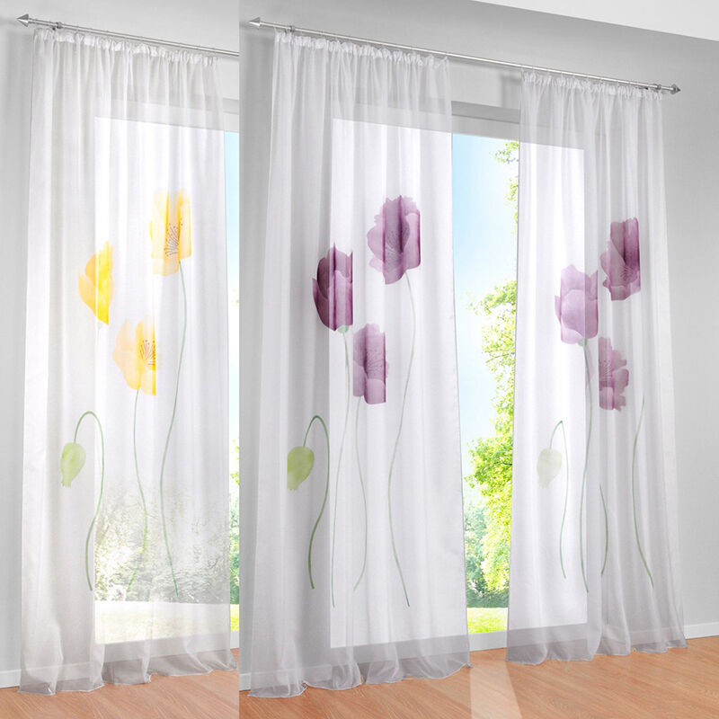 new sheer window curtain floral blackout curtains drapes for bedroom