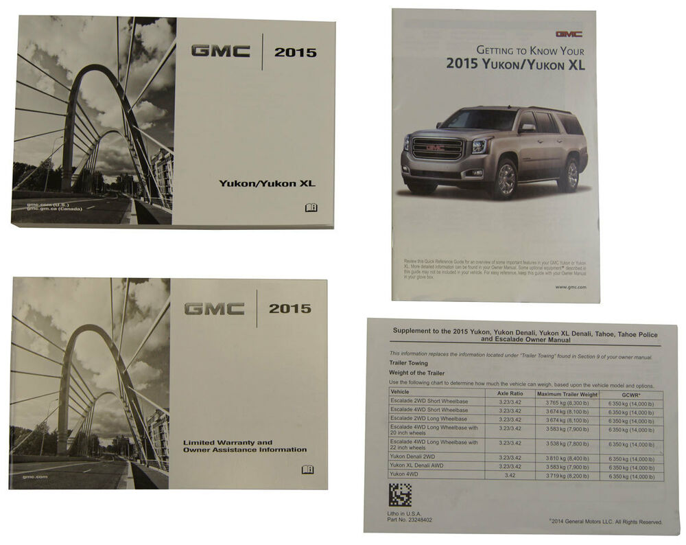 2015 GMC Yukon/Yukon XL US Owners Manual Book W/Warranty Book New OEM  23248415 | eBay