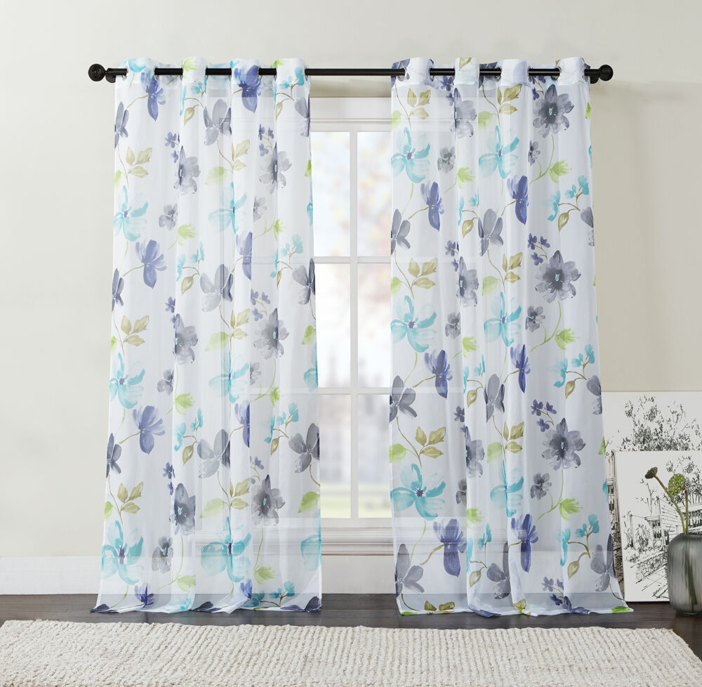Extra Long 108 Quot Two 2 Piece Sheer Grommet Window Curtain