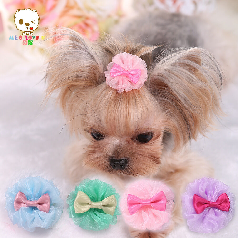 yorkie accessory pretty tulle pet dog yorkie hair bows accessories shih tzu 7433