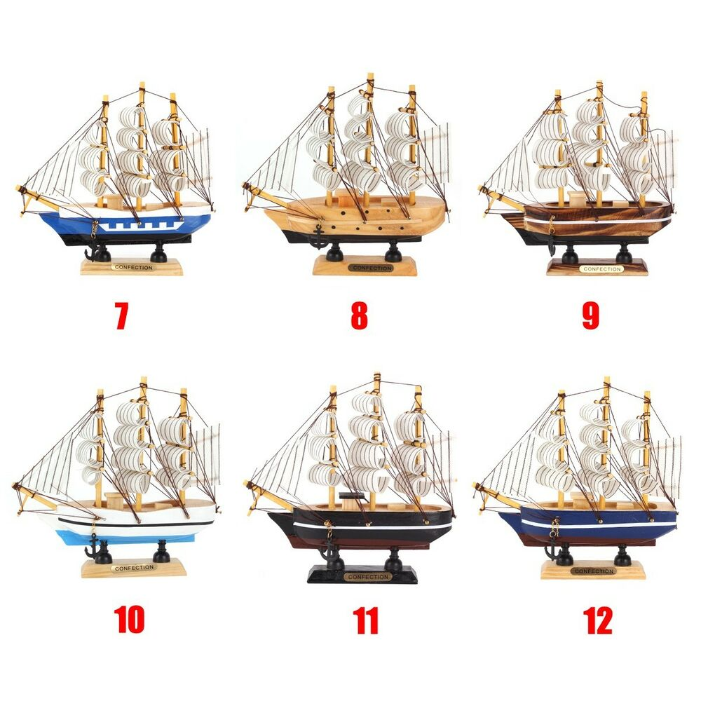 6 style handmade ship craft wooden sailing boat wood model for Ship decor home