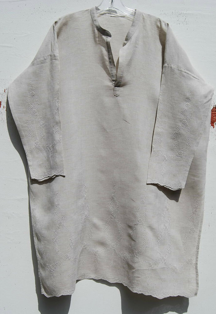 "1a7eda147d Details about Eskandar BEIGE Linen Embroidered Hem and Arm Mandarin V-neck  37"" Long Tunic $995"