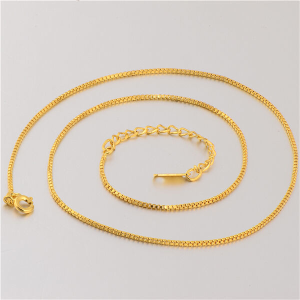 Classic 18k Yellow Gold Filled Womens Box Chain Necklace