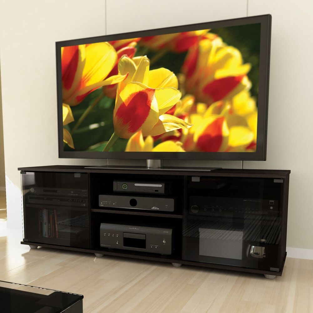 Black tv stand entertainment center modern furniture media for Media and tv storage furniture