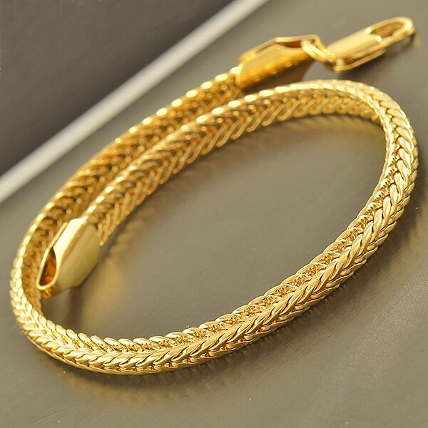 COOL 9K Yellow Solid Gold Filled Men's Snake Bracelet ...