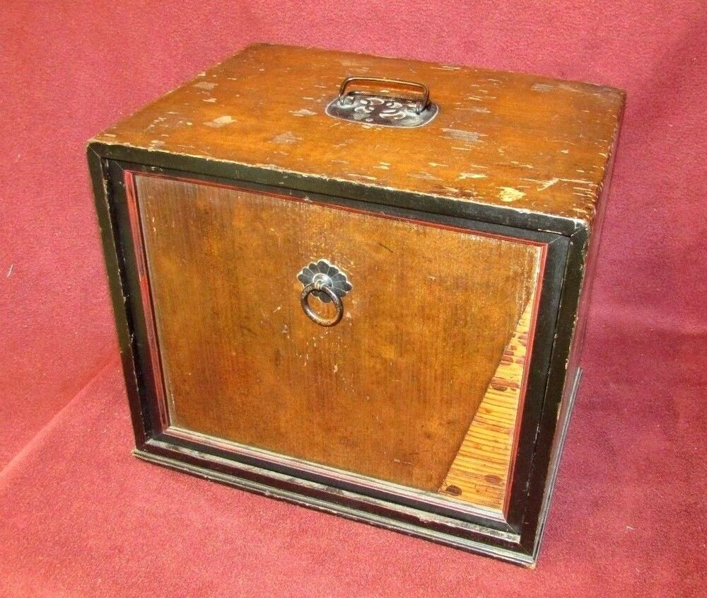 Antique Japanese Tea Ceremony Storage Box Wood Bamboo Ebay