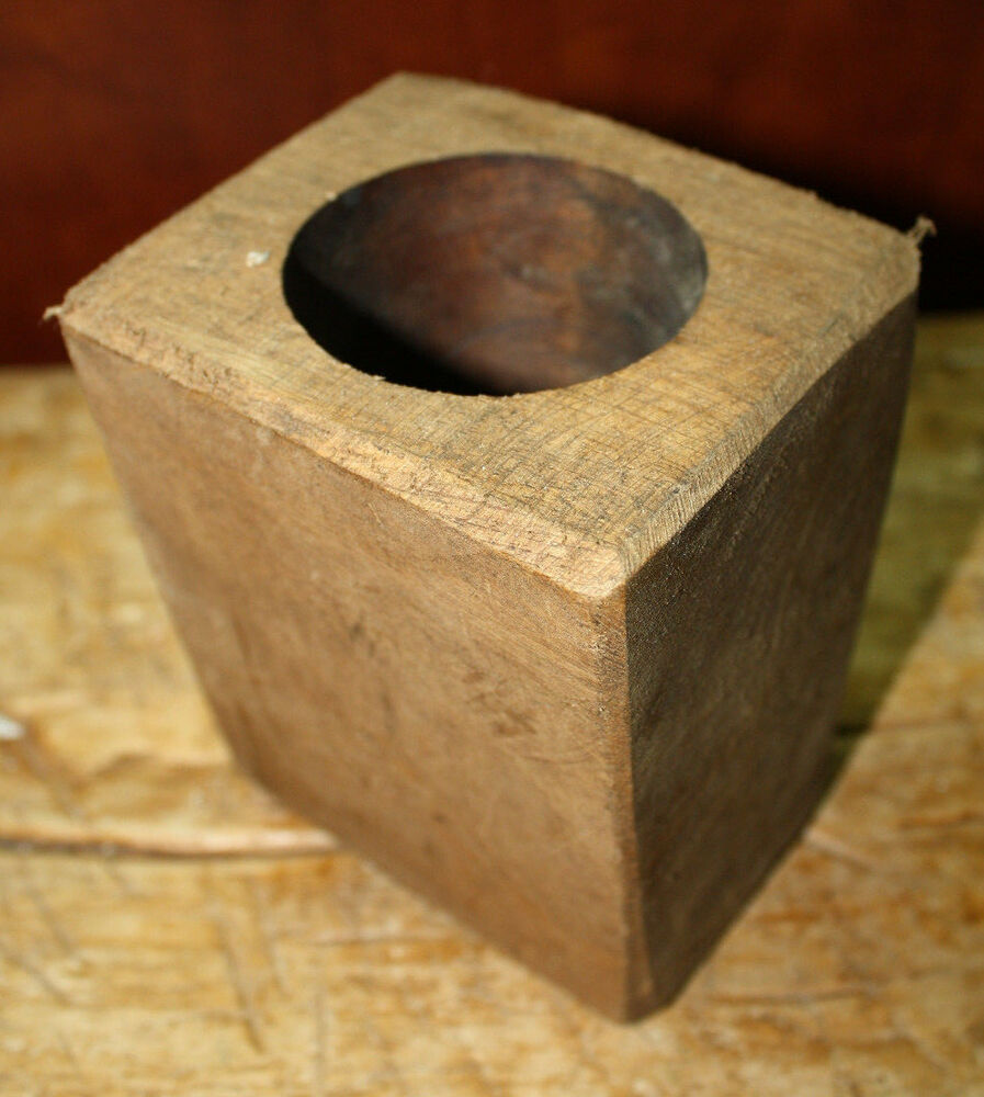 1 Hole Wooden Sugar Mold Wood Candle Holder Primitive Home