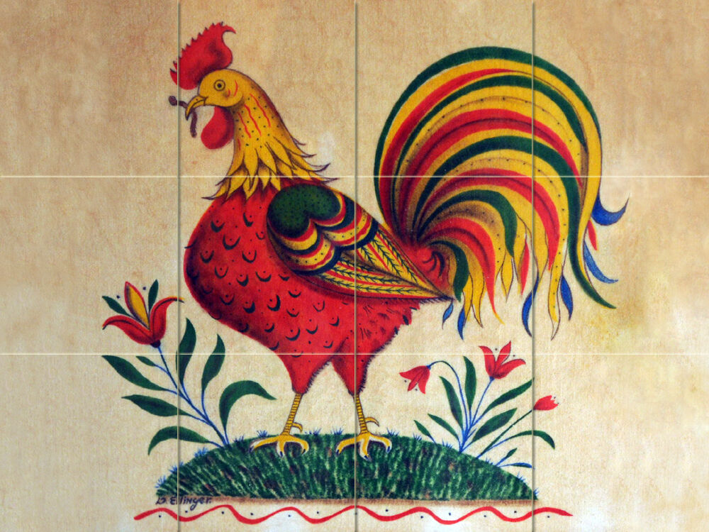 24 x 18 art rooster colorful mural ceramic backsplash for Ceramic mural art