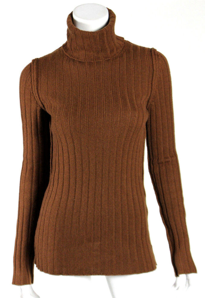 DOLCE & GABBANA Rust Brown Wool Ribbed Knit Wool ...