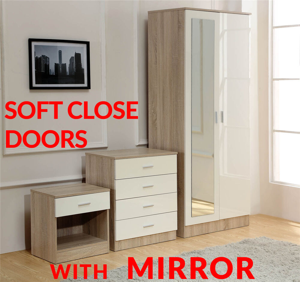 Mirror Cream Oak High Gloss 3 Piece Bedroom Furniture Set Wardrobe