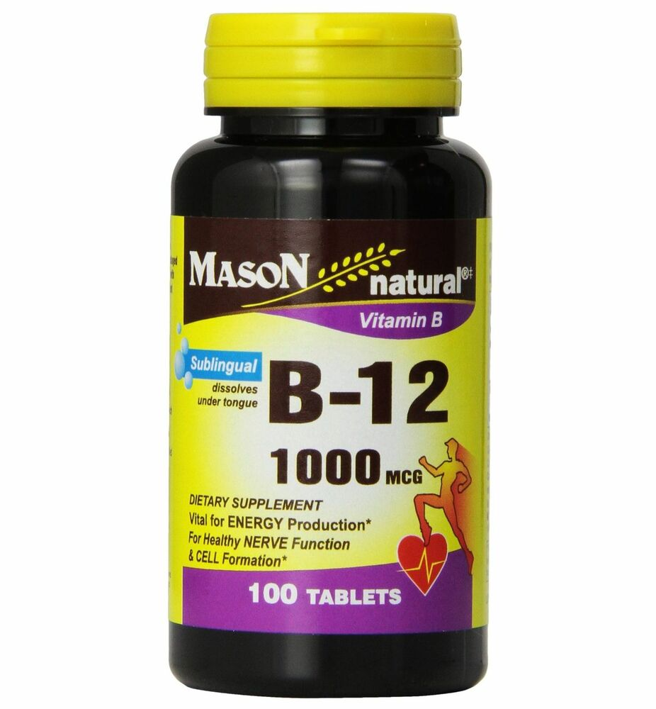 mason natural vitamin b 12 1000mcg sublingual tablets 100 ea ebay. Black Bedroom Furniture Sets. Home Design Ideas