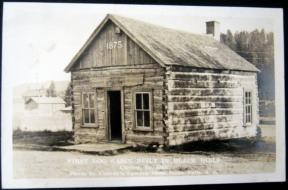 Custer sd 1920 39 s rppc first log cabin built in black for Cabins near custer sd