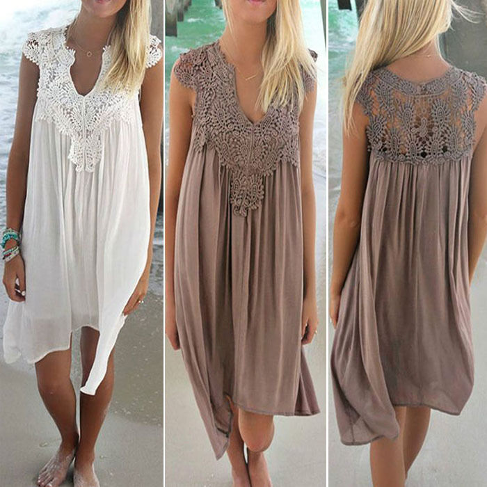From UK Boho Womens Lace Embroidery Summer Loose Casual ...