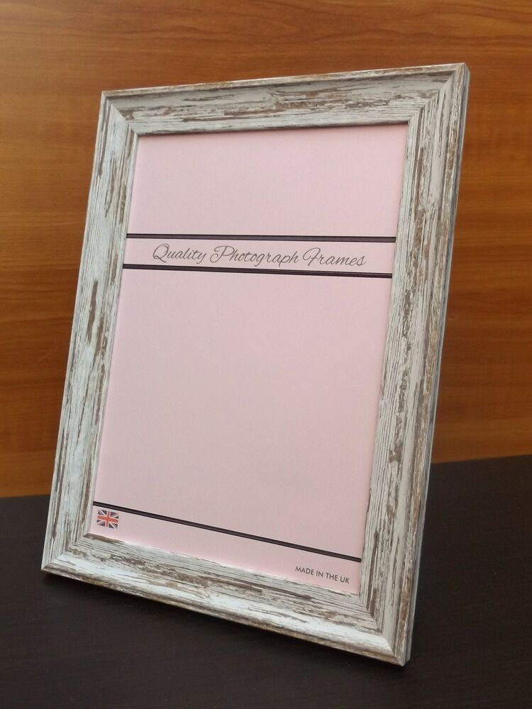 Distressed White Light Wood Finish Photo Picture Frame