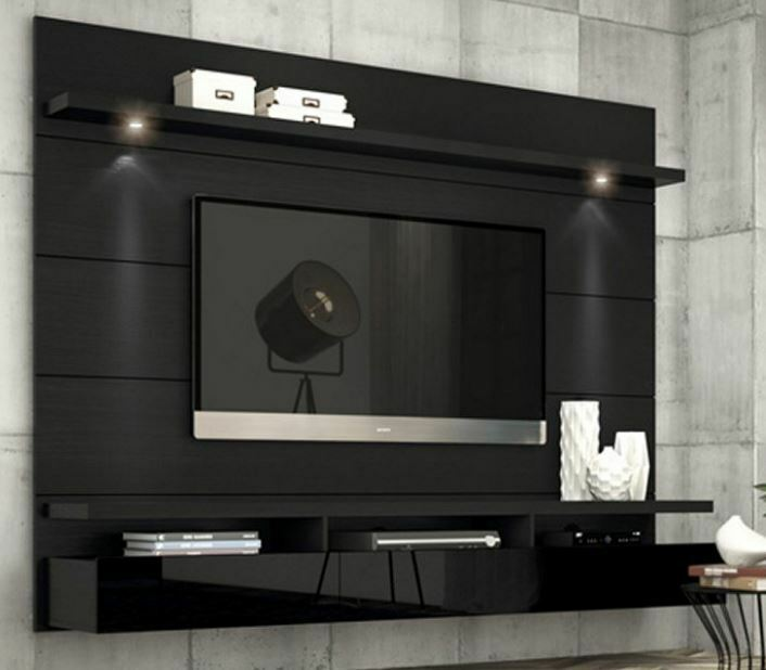 entertainment center tv stand modern black storage media wall mounted furniture ebay. Black Bedroom Furniture Sets. Home Design Ideas