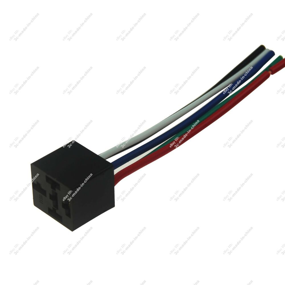details about 1x 12v dc 30/40a spdt relay socket wire/wiring harness 5 pin wire  plug end 20930
