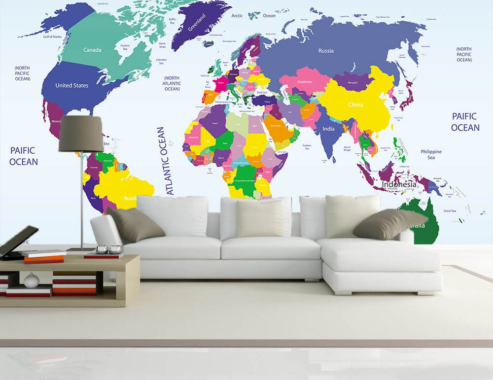 3d map icon world wallpaper murals wall print decal wall for 3d wallpaper for walls ebay