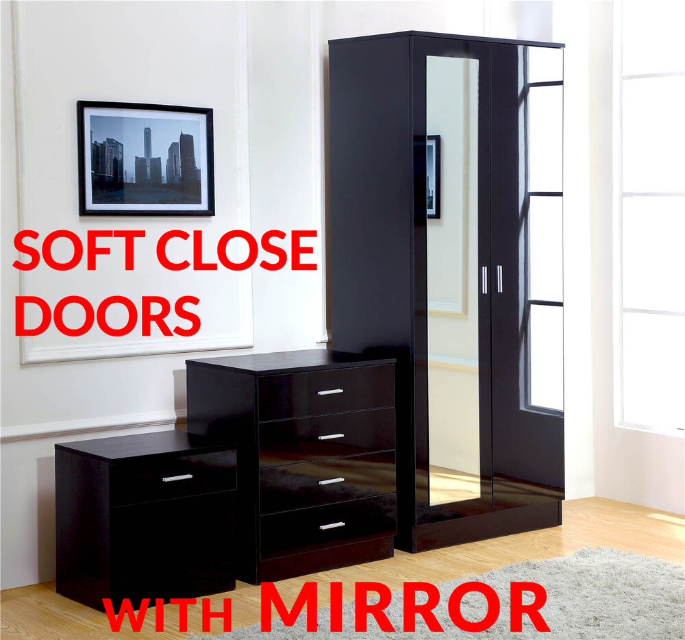 mirrored black high gloss 3 piece bedroom furniture set wardrobe