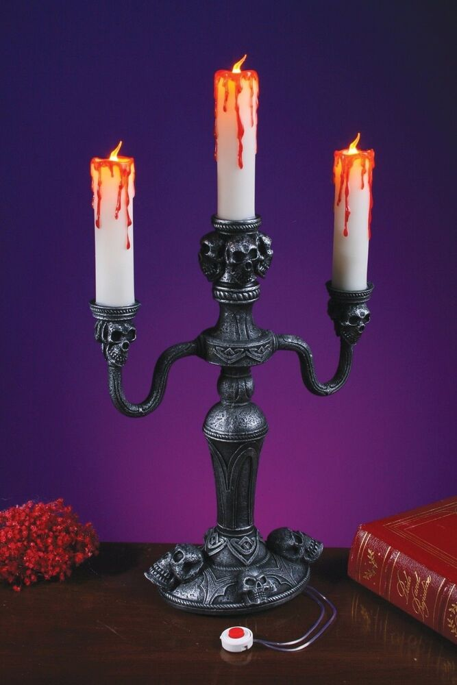Scary flickering flame candle haunted house led skull for Home decor 91711