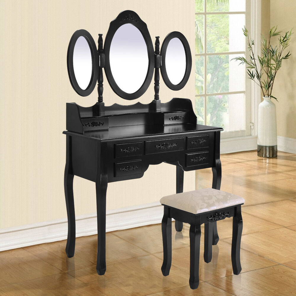 Shabby chic black dressing table with stool and oval for Black makeup table with mirror