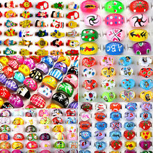 10Pcs Wholesale Lot Jewelry Mixed Lots Resin Lucite Children Kids Rings 13-16mm