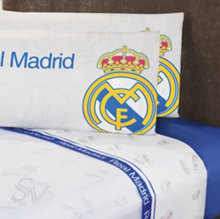 Club real madrid spain football soccer blue sheet set new boys bedding decor ebay - Real madrid decorations ...