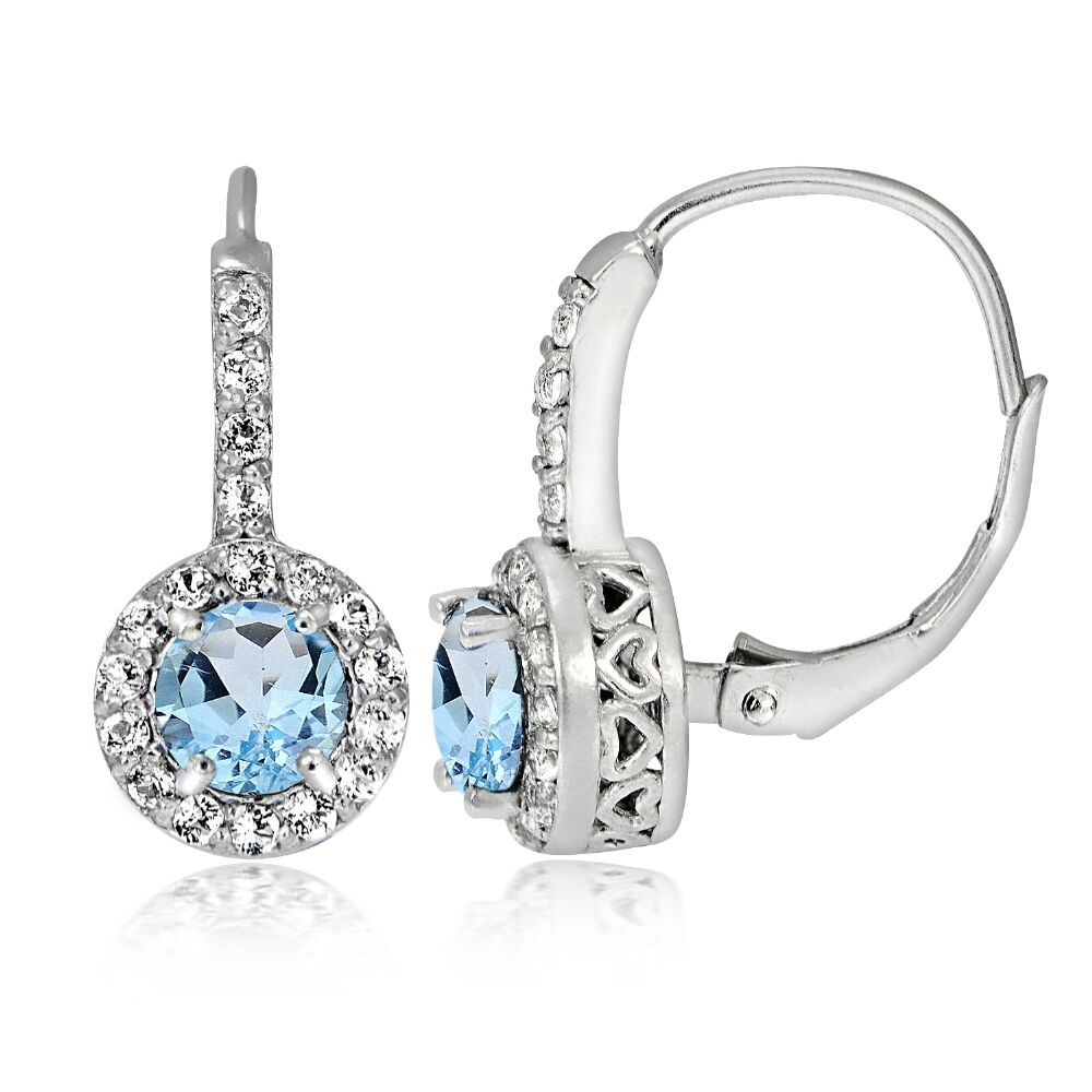 Sterling Silver 1 3ct Blue Topaz Amp White Topaz Round Leverback Earring