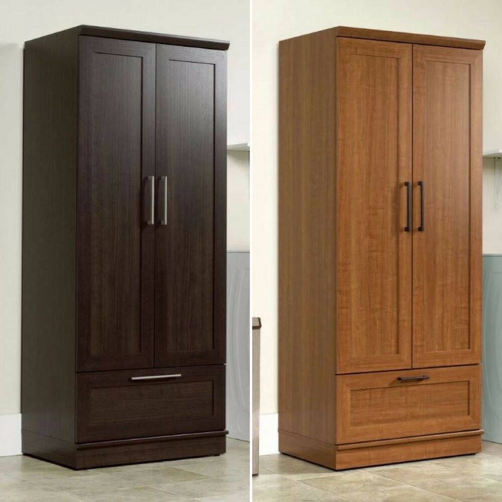 Wardrobe closet storage armoire tall bedroom furniture cabinet clothes organizer ebay Wardrobe cabinet design woodworking plans