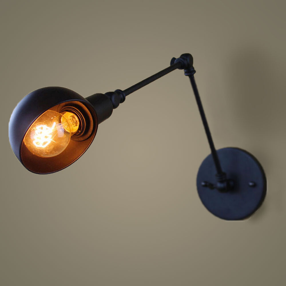 led adjustable metal industrial vintage retro industrial ceiling wall light lamp ebay. Black Bedroom Furniture Sets. Home Design Ideas