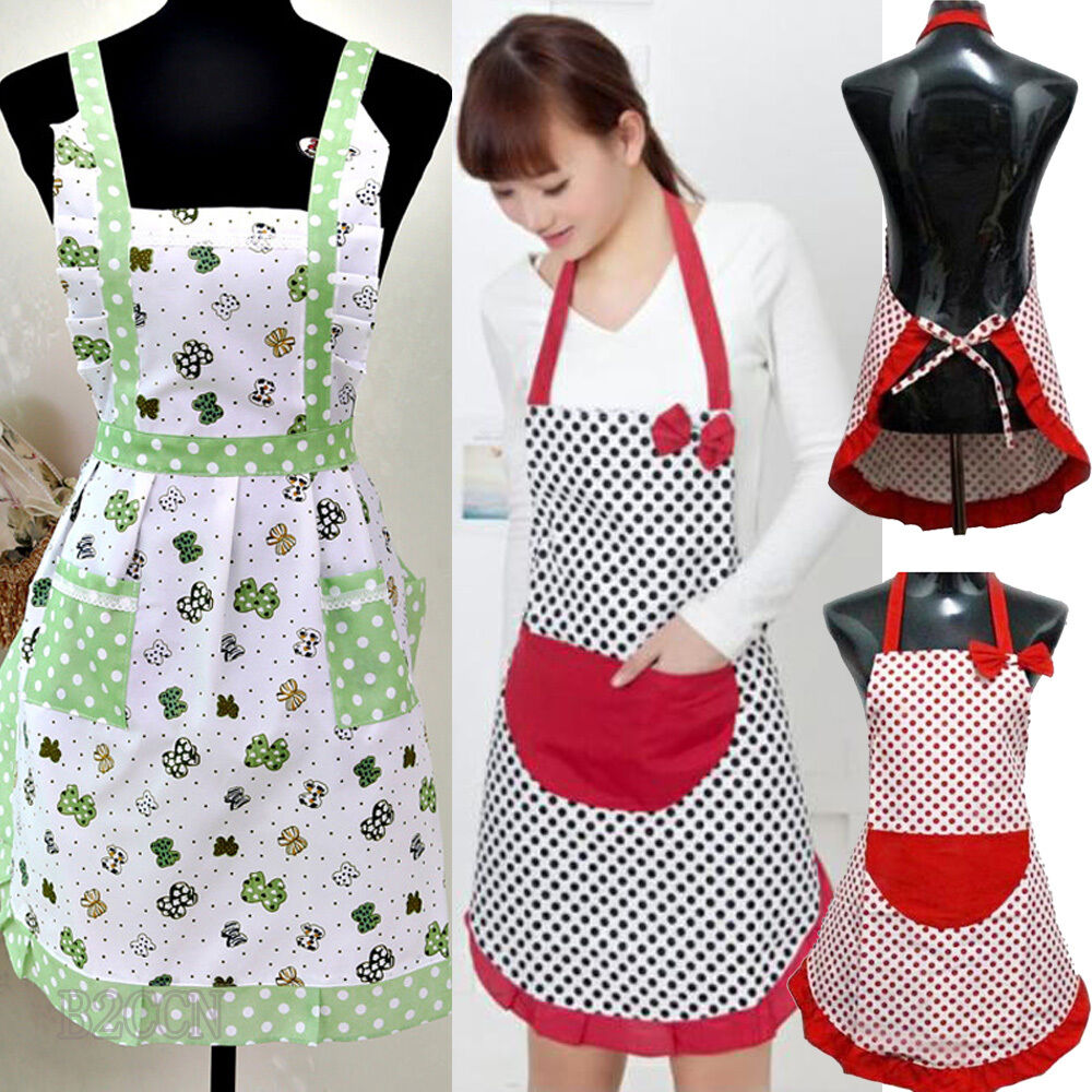Fashion womens cute bowknot kitchen dress restaurant bib for Apron designs and kitchen apron styles