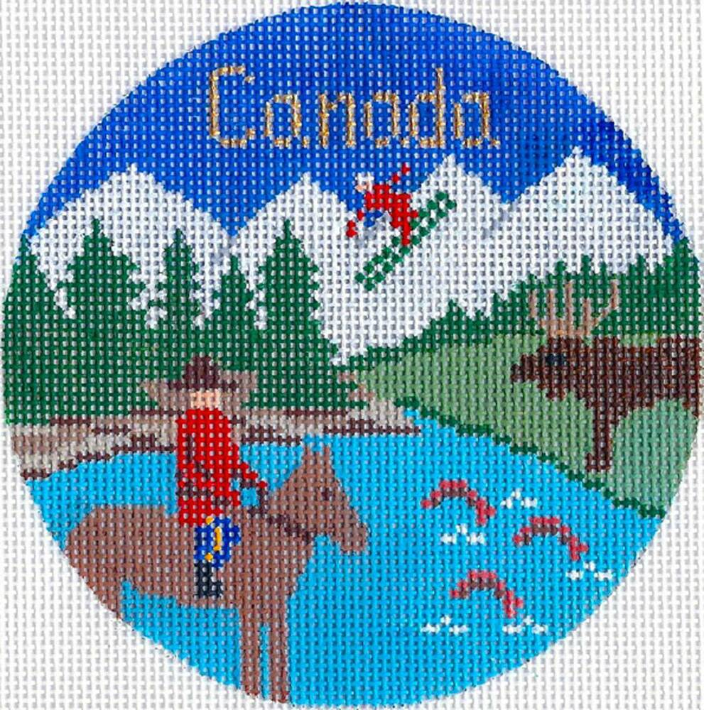 """Christmas Ornaments For Sale Canada: Silver Needle CANADA Handpainted 4.25"""" Rd. Needlepoint"""