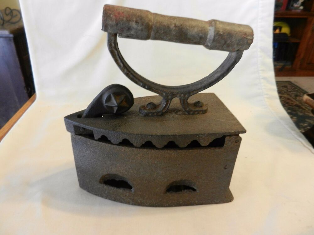 Antique Heavy Coal Clothing Iron With Handle For