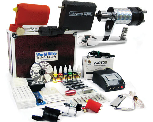 Tattoo rotary travel kit seller supply ink needles machine for Supplies for tattooing