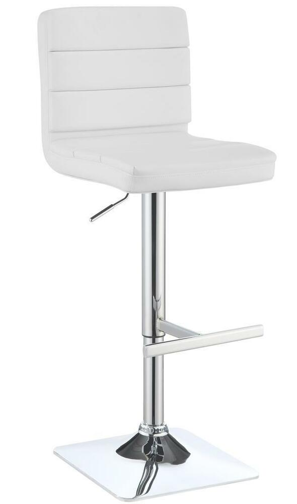 Contemporary Adjustable White Upholstered Bar Stool By