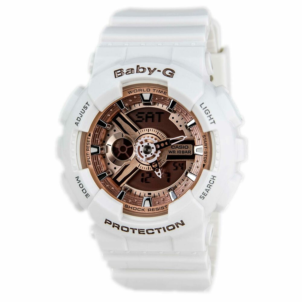 Casio Ba110 7a1 Women S Baby G Rose Gold Dial White Resin