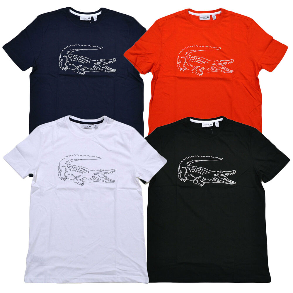 Lacoste mens croc graphic t shirt regular fit short sleeve for Men s regular fit shirts