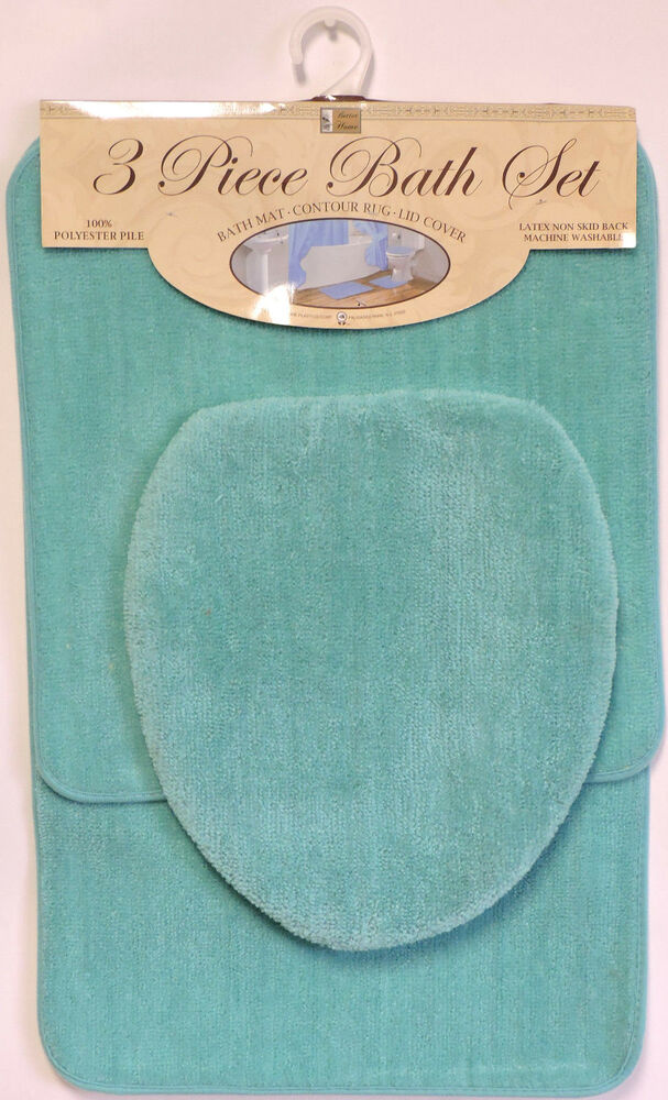 Bath Rug Set Walmart: 3 Piece Bath Rug Set Turquoise Bathroom Mat Contour Rug