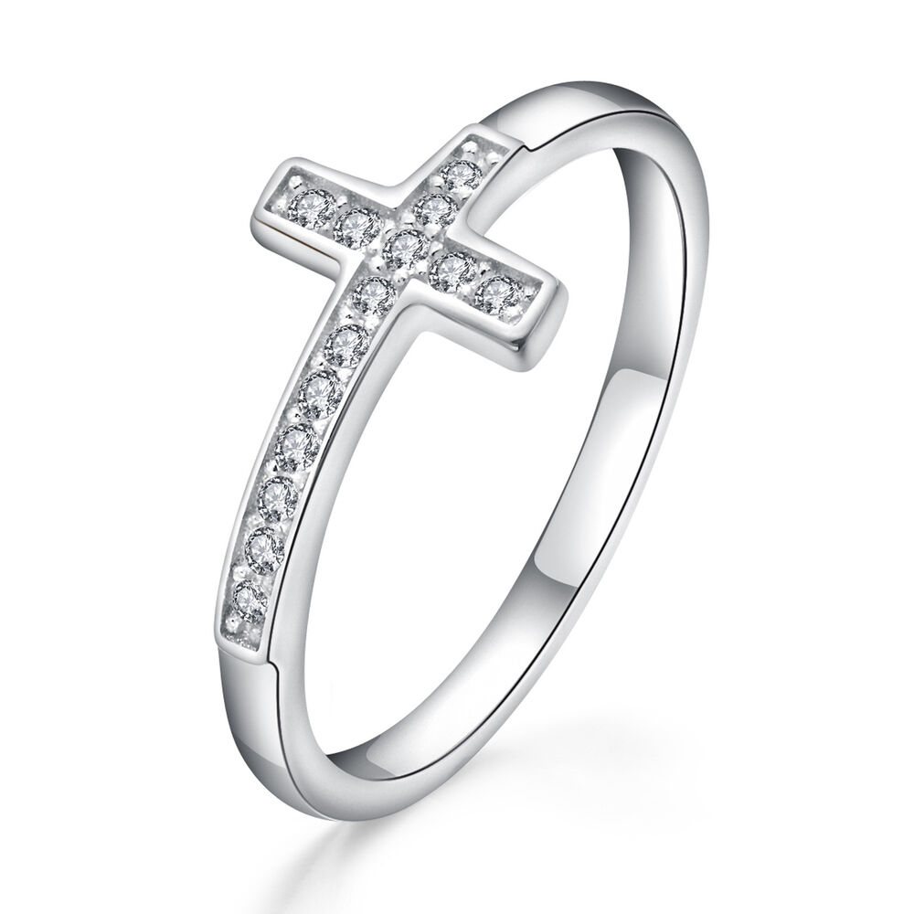 Details about Stunning Solid 925 Sterling Silver Cross Ring Pave with  Swarovski Element 68ff48687