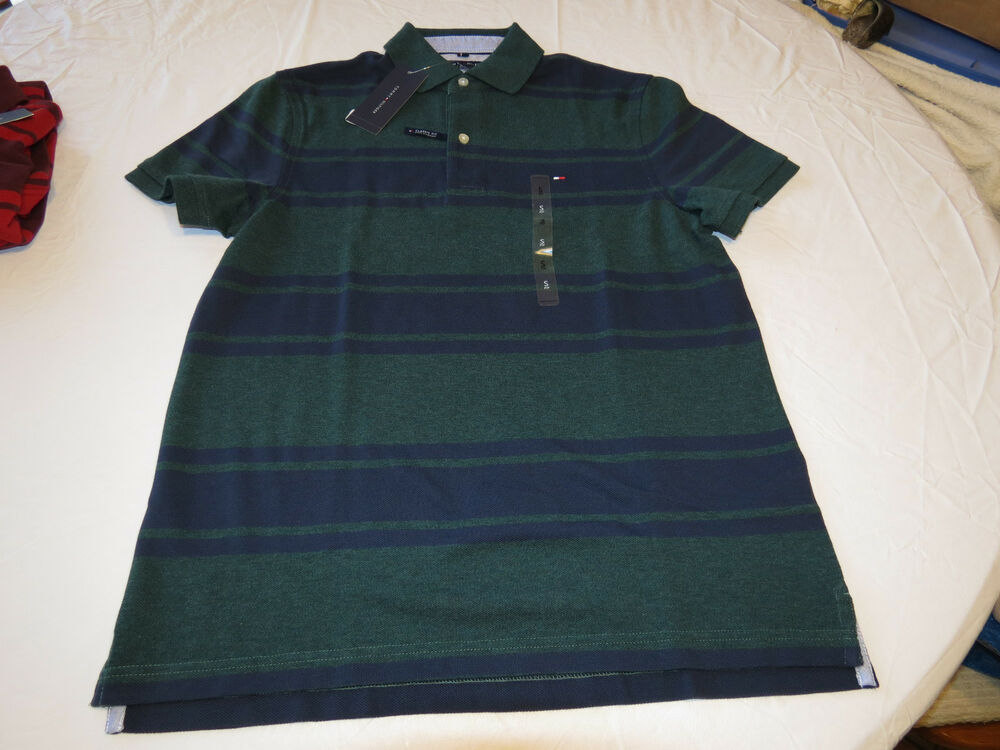 a92986cc211fd3 Details about Mens Tommy Hilfiger Polo shirt Striped 7880966 Dark Green 319 M  Classic NWT
