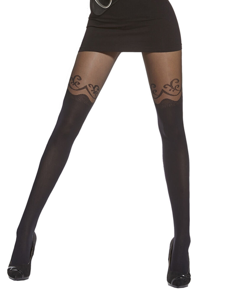 Women's Plus Size Black Patterned Tights 20/40 Denier by ...