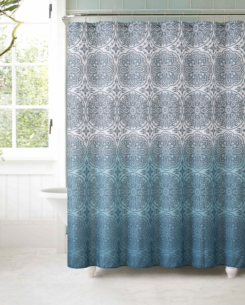 Fabric Shower Curtain With 12 Roller Ball Hooks Teal Ombre Floral Medallion Ebay
